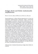 Nudges, Recht und Politik: Institutionelle Implikationen.